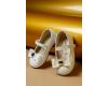 Bateliai odiniai dramblio kaulo spalvos su bantuku Baby Walker