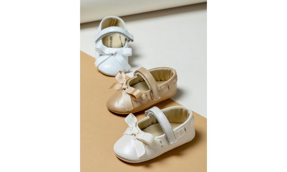 Batukai kūdikiui odiniai balti Baby Walker