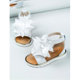 Basutės odinės baltos su gėlėmis Baby Walker