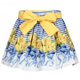 Sijonas Balloon Chic mėlynas su tulpėmis