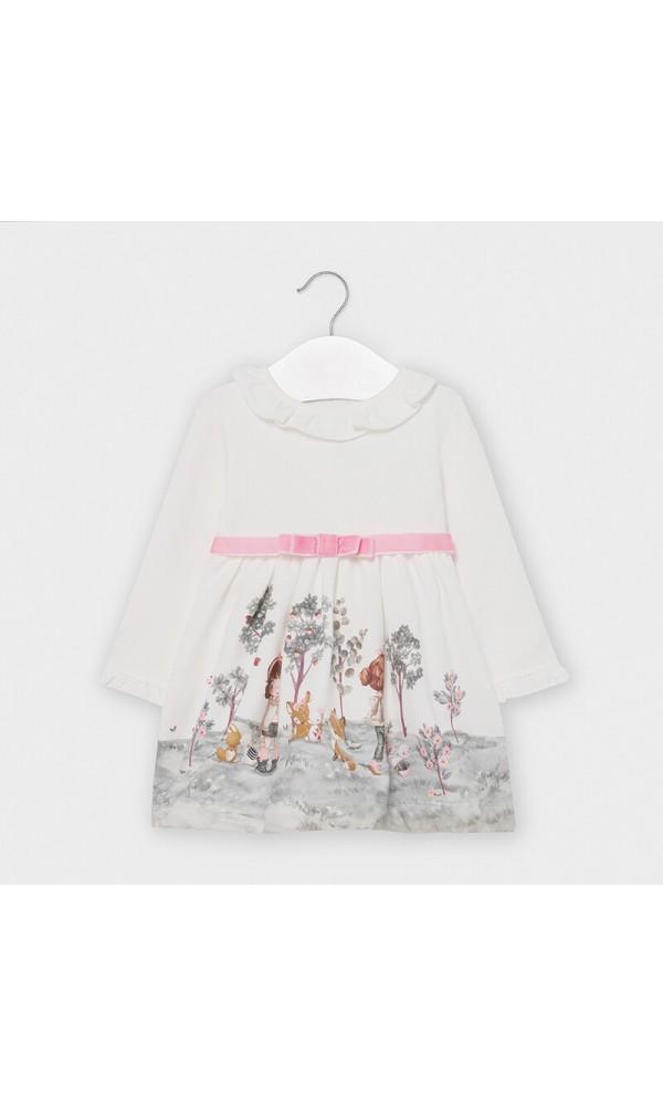Suknelė kūdikiui balta su piešiniais