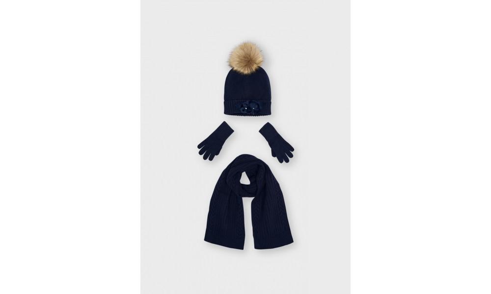 Kepurės, šaliko ir pirštinių komplektas mėlynas