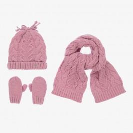 Kepurės, šaliko ir pirštinių komplektas kūdikiui mergaitei