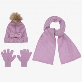 Kepurės, šaliko ir pirštinių komplektas violetinis