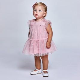 Suknelė kūdikiui rožinio tiulio