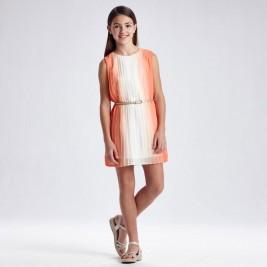 Suknelė paauglei persikinė klostuota
