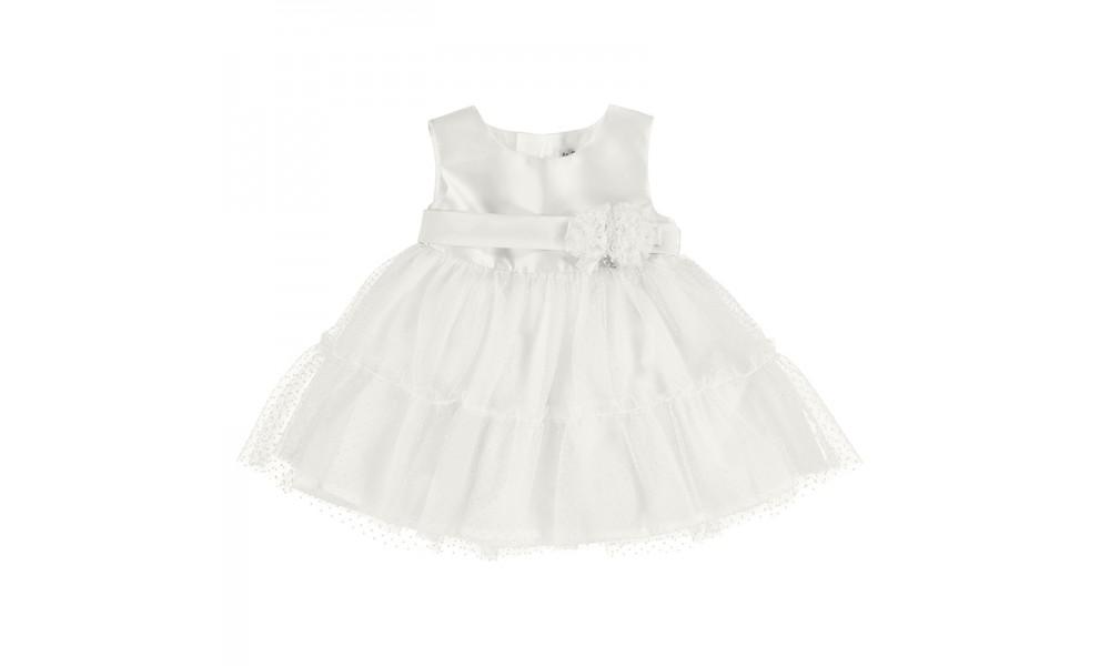 Suknelė kūdikiui balto satino ir tiulio