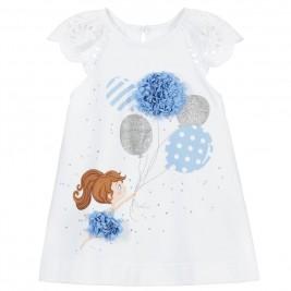 Suknelė kūdikiui baltos ir mėlynos spalvos