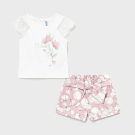 Šortų ir maikutės rožinis komplektas kūdikiui mergaitei