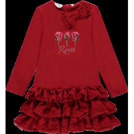 Suknelė su rožėmis raudona