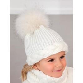Kepurės, movos ir pirštinių baltas komplektas