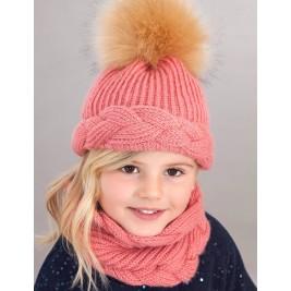 Kepurės, movos ir pirštinių rožinis komplektas