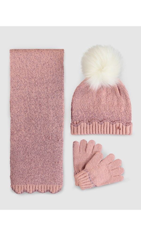 Kepurės, šaliko ir pirštinių rožinis komplektas