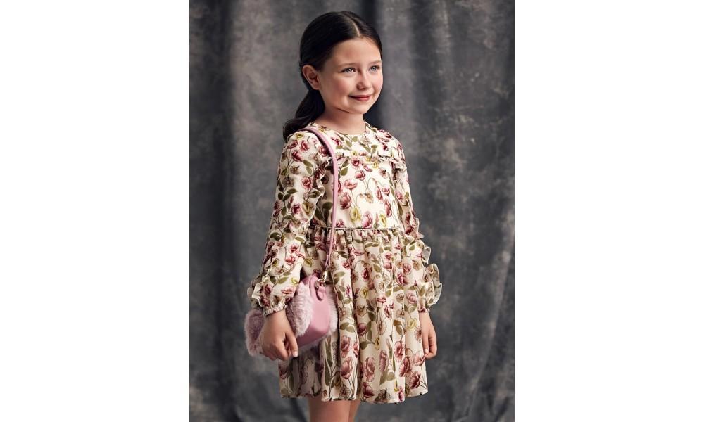 Suknelė gėlėto šifono ilgomis rankovėmis
