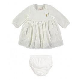 Suknelė kūdikiui nėriniuota balta