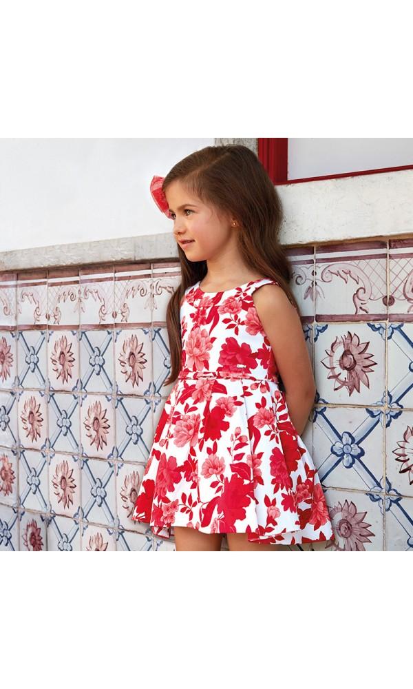 Suknelė gėlėta raudona