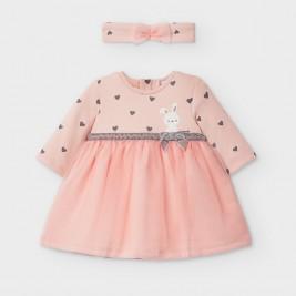 Suknelė kūdikiui su kiškučiu rožinė