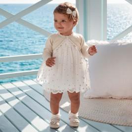 Suknelė kūdikiui siuvinėto balto tiulio