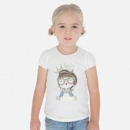 Maikutė balta trumpomis rankovėmis mergaitei