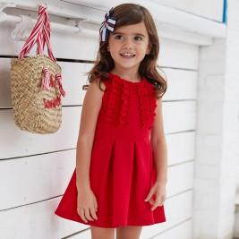 Suknelė raudona su raukinukais