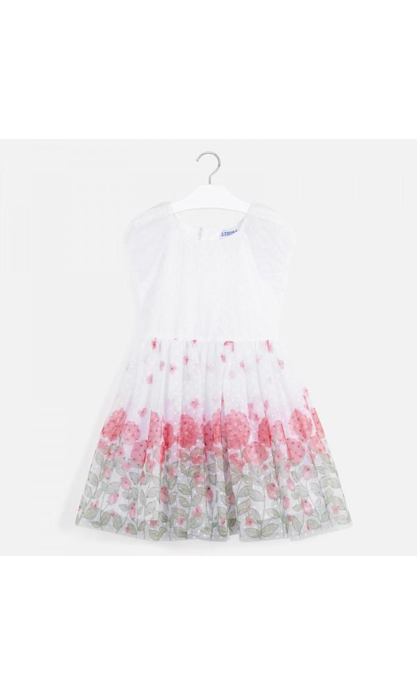 Suknelė balto tiulio gėlėta apačia