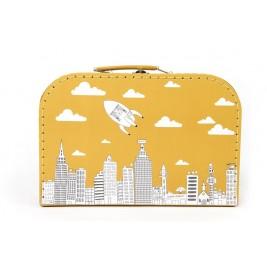 """Dėžutė - lagaminas """"Miestas"""" didelė garstyčių spalvos"""