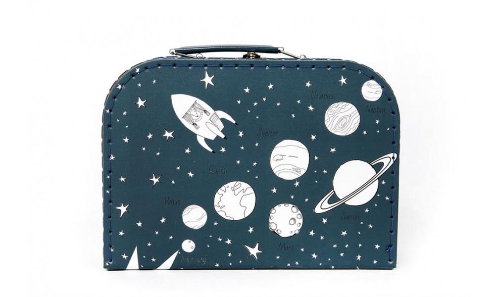 """Dėžutė - lagaminas """"Planetos"""" vidutinė mėlynos spalvos"""
